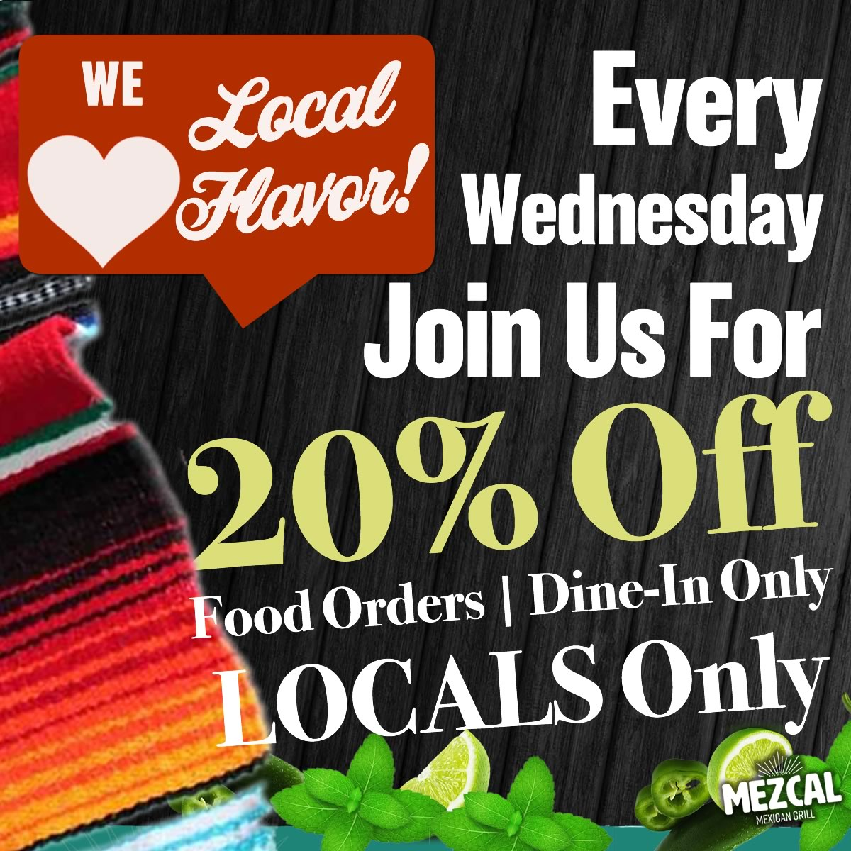 Nov,25 2020 Locals Night 20% Off Mezcal Mexican Grill | Seascape Resort Destin Florida Events