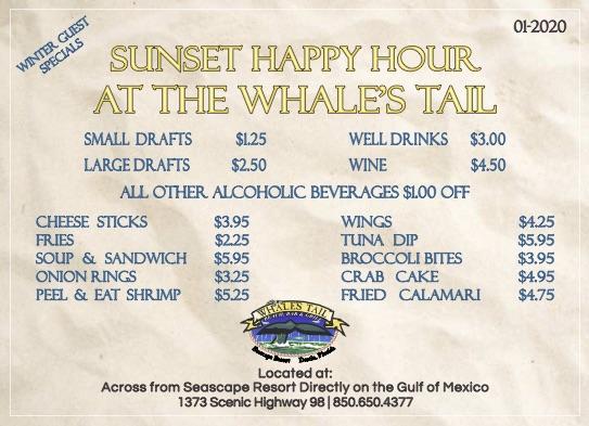 Whales Tail Seascape Resort Destin Winter Menu